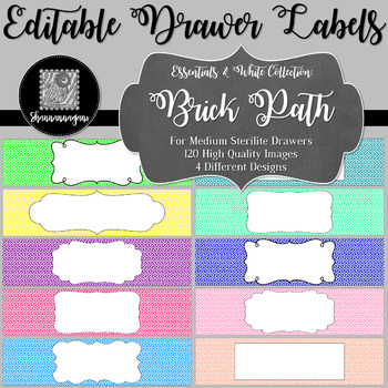 Editable Sterilite Drawer Labels - Basics: Brick Path and White