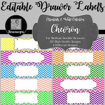 Editable Sterilite Drawer Labels - Basics: Chevron and White