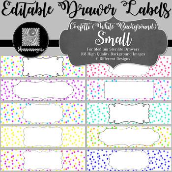 Editable Sterilite Drawer Labels - Confetti: White Background (Small)