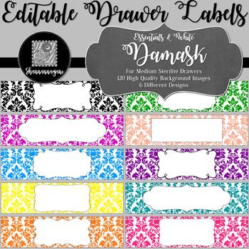 Editable Sterilite Drawer Labels - Basics: Damask and White