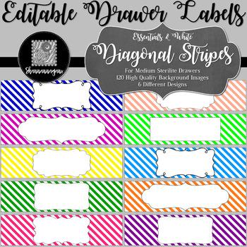 Editable Sterilite Drawer Labels - Diagonal Stripes | Editable PowerPoint