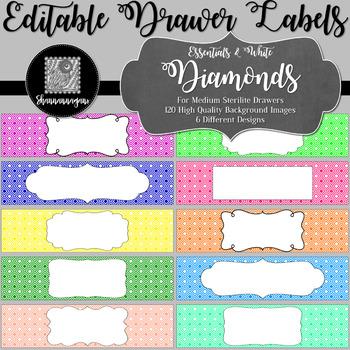 Editable Sterilite Drawer Labels - Essentials & White: Diamonds