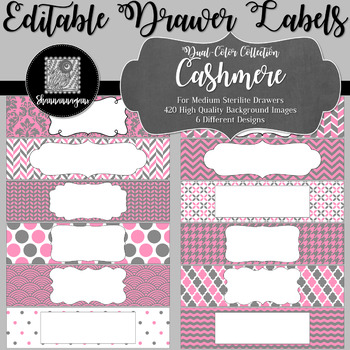 Editable Sterilite Drawer Labels - Dual-Color: Cashmere