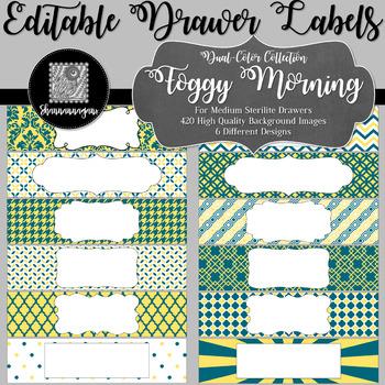 Editable Sterilite Drawer Labels - Dual-Color: Foggy Morning