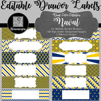 Editable Sterilite Drawer Labels - Dual-Color: Naval