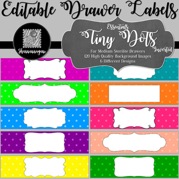 Editable Sterilite Drawer Labels - Essentials: Tiny Dots (Inverted)