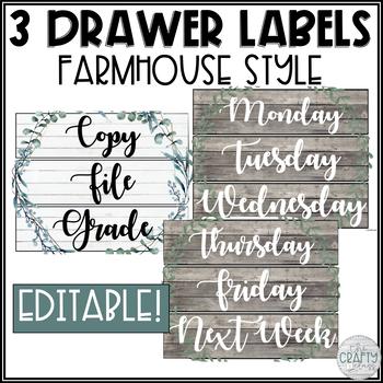 Editable Sterilite Drawer Labels (Farmhouse Classroom Decor)