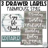 3 Drawer Sterilite Labels Editable (Farmhouse Classroom Decor)