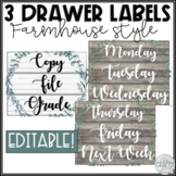 3 Drawer Sterilite Labels Editable | Farmhouse Classroom Decor