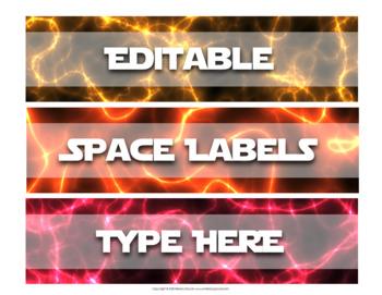 Editable Sterilite Drawer Labels: Galaxy, Space, Universe Theme