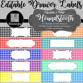Editable Sterilite Drawer Labels - Basics: Houndstooth and White