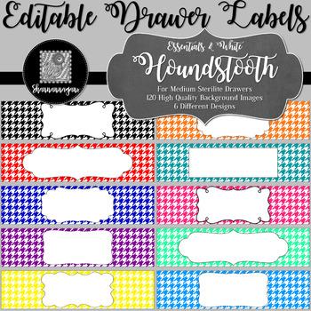 Editable Sterilite Drawer Labels - Essentials & White: Houndstooth