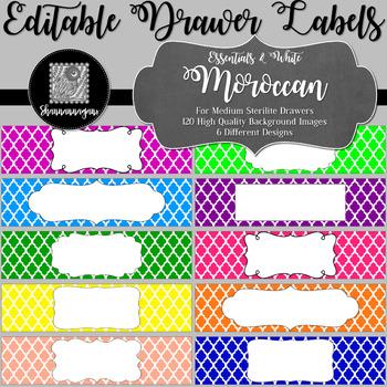 Editable Sterilite Drawer Labels - Moroccan   Editable PowerPoint