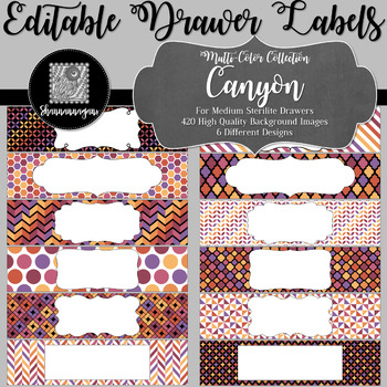 Editable Sterilite Drawer Labels - Multi-Color: Canyon