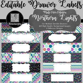 Editable Sterilite Drawer Labels - Multi-Color: Northern Lights