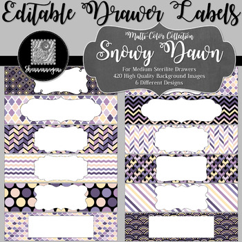 Editable Sterilite Drawer Labels - Multi-Color: Snowy Dawn