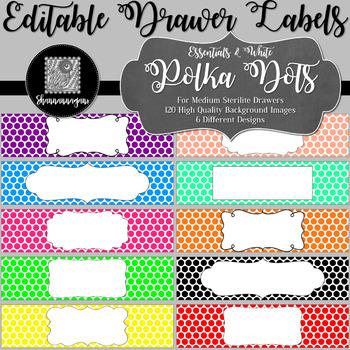 Editable Sterilite Drawer Labels - Polka Dots | Editable PowerPoint