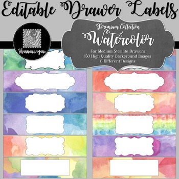 Editable Sterilite Drawer Labels - Premium Collection: Watercolor