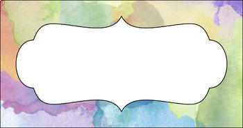 Editable Teacher Toolbox Labels - Premium: Watercolor