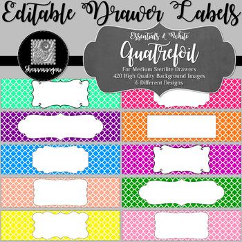 Editable Sterilite Drawer Labels - Basics: Quatrefoil and White