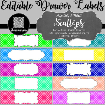 Editable Sterilite Drawer Labels - Basics: Scalloped and White