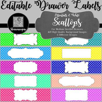 Editable Sterilite Drawer Labels - Essentials & White: Scallops