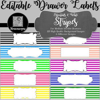 Editable Sterilite Drawer Labels - Basics: Stripes and White