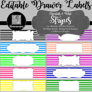 Editable Sterilite Drawer Labels - Essentials & White: Stripes