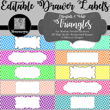 Editable Sterilite Drawer Labels - Triangles | Editable PowerPoint