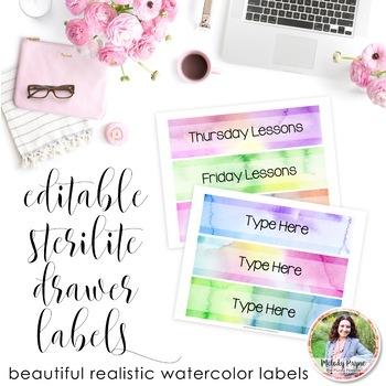 Editable Sterilite Drawer Labels (Watercolor)
