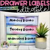 Editable Sterilite Drawer Labels {Watercolor, 8.5x11}