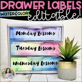 Watercolor Sterilite Drawer Labels - Editable