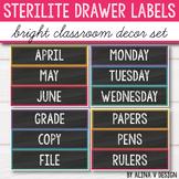 Sterilite Drawer Labels EDITABLE, Bright Chalkboard Classr