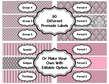 Editable Sterlite Drawer Labels: Charcoal Pinks