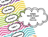 Editable Sterlite Drawer Labels: Colorful Chevron