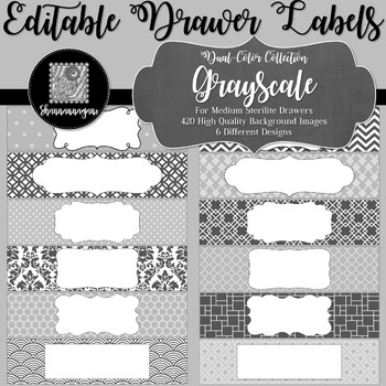 Editable Medium Sterilite Drawer Labels - Grayscale Color Scheme