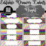 Editable Medium Sterilite Drawer Labels - Rainbow: Bright