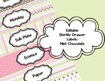 Editable Sterlite Drawer Labels: Strawberry Chocolate