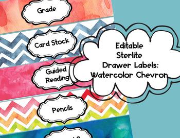 Editable Sterlite Drawer Labels: Watercolor Chevron