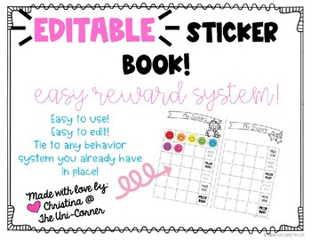 Editable Sticker Book - Easy Reward System & Totally Customizable!