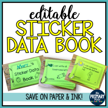 Sticker Data Book for Kindergarten- I Can Statements EDITABLE