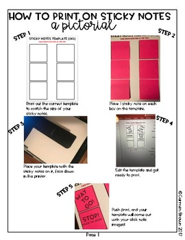 Editable Sticky Note Template for Printing On Sticky Notes