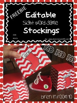Editable Stocking FREEBIE {for Sight Word Games etc.}
