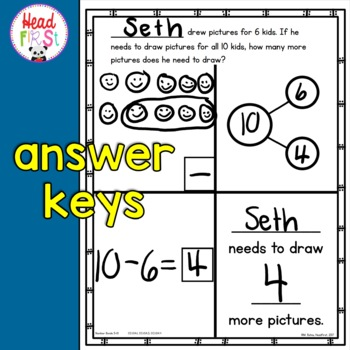 Editable Story Problems Addition Subtraction to 10 - Back to School