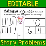 Editable Addition and Subtraction Story Problems Doubles Facts for 1st Grade