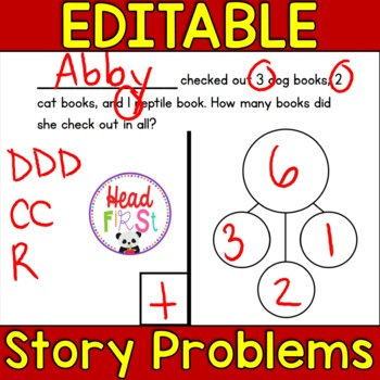 Editable Story Problems 3 Numbers/Expanded Form Unit 3 - Add students' names!