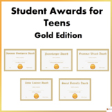 Editable Student Awards For Teens- Gold Theme Edition