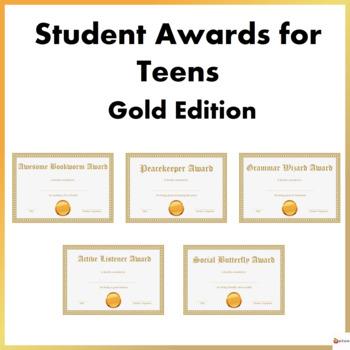 Editable Student Awards For Teens- Gold Theme Edition