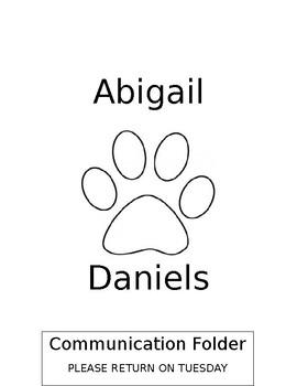 Editable Student Binder/Communication Folder Cover Dog Theme