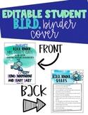 Editable Student Binder Cover- BIRD Peacock